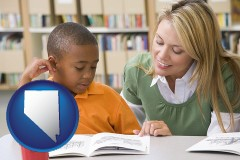 nv a teacher helping a student with reading skills